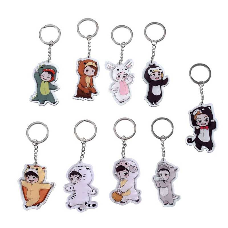 1PC Cute 9 Styles Cartoon EXO Acrylic Keychain Fashion Jewelry Accessories Cute Boys Shaped Pendants Keyring
