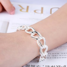 Silver 925 Bracelets for Women Double Link Chain Bracelet & Bangles Wristband Pulseira Femme Fashion Jewelry Christmas Gifts heyrock heavy sturdy double layer motorcycle chain bracelets cool biker men colorful painted titanium steel link bangles