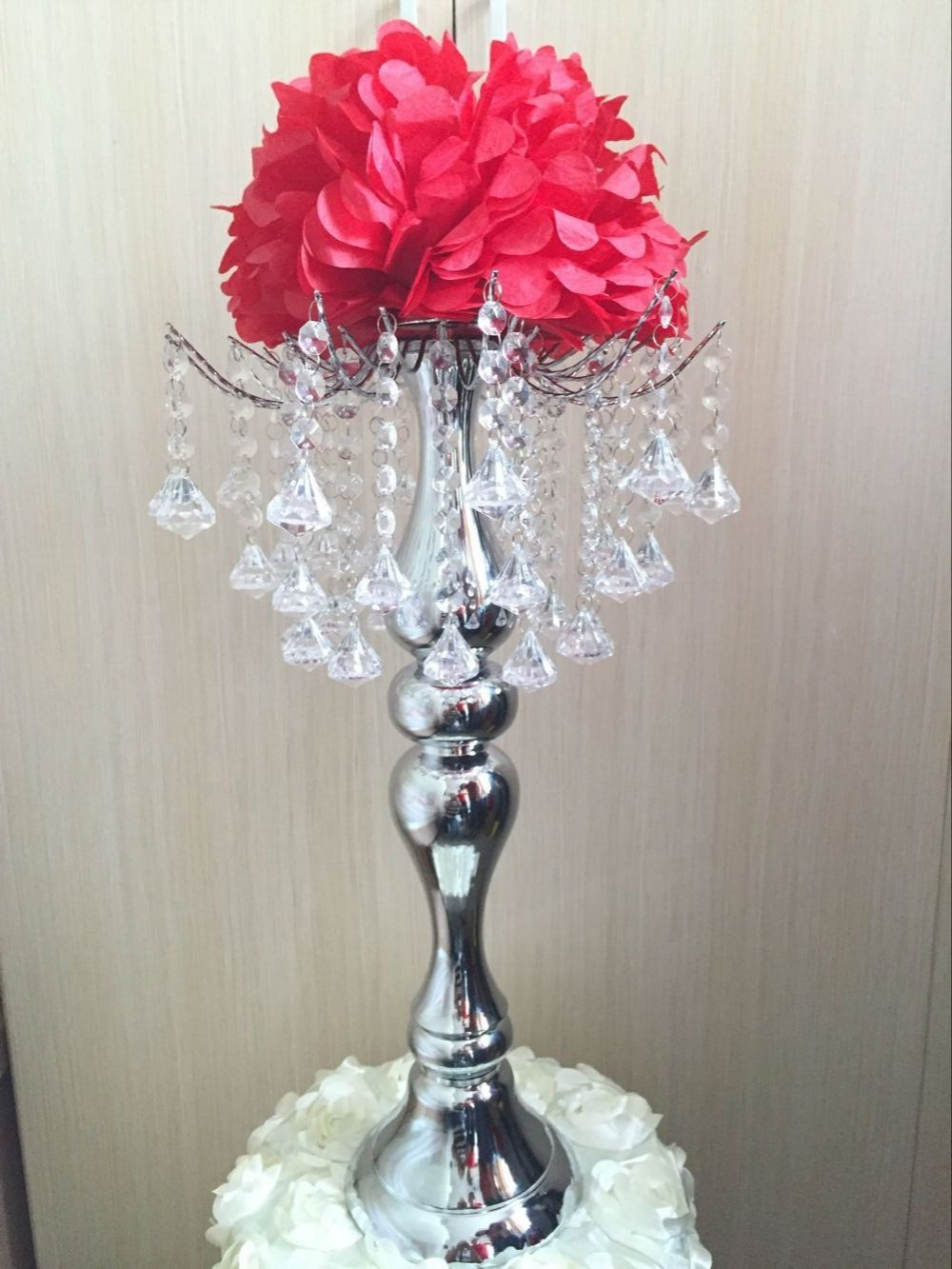 wedding table flower holder decor metal crystal stand Candelabra pan Candle Holder party hotel Centerpiece flower