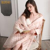 J&Q new female robes classy brand homewear lingerie winter warm bathrobes classy silk fabric cotton padded plus size bath robes