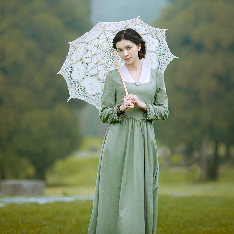 vestido Spring Autumn Women Vintage V-Neck Long Sleeve Elegant Slim Linen Princess Laciness Light Green Long Dress sukienki
