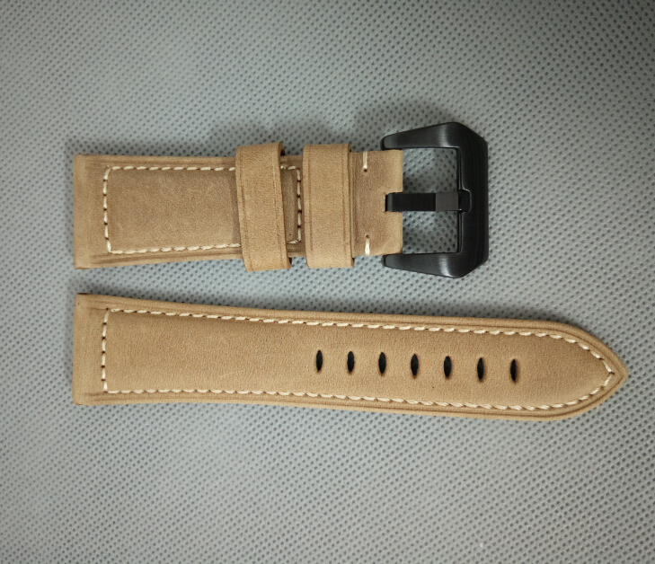 free shipping 26mm Light brown color arenaceous Genuine leather <font><b>watch</b></font> <font><b>strap</b></font> with <font><b>PVD</b></font> 316L stainless steel buckle 000271gggg image