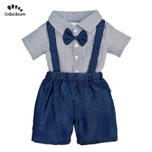 2019 Summer baby boy romper set newborn boys clothing sets strip bow shirt jumpsuit jeans overall short kids infant clothes sets стоимость