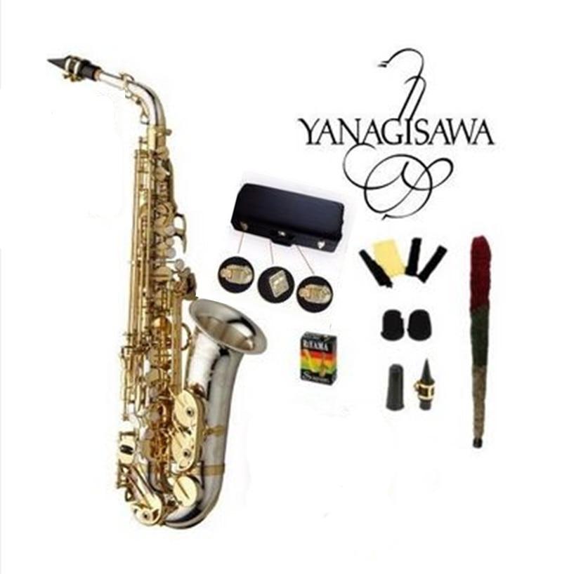 Haute qualité tout nouveau YANAGISAWA A-WO37 Saxophone Alto nickelé or clé professionnel saxo embout avec étui d'expédition