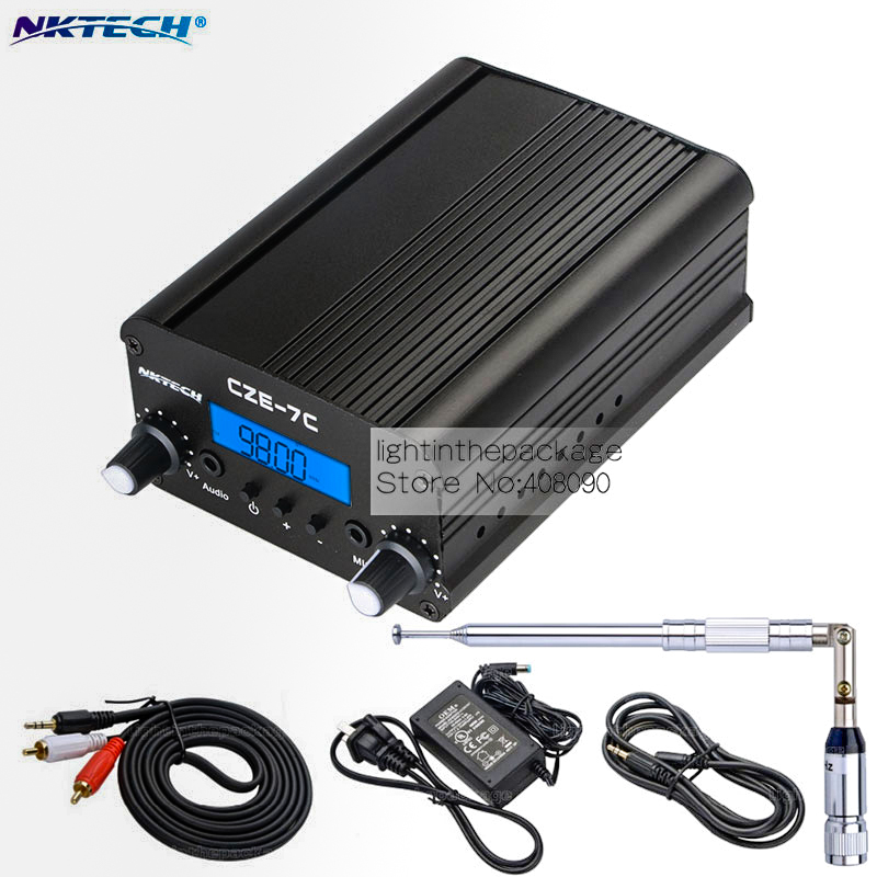 NKTECH 1W/7W 76-108MHZ Amplifiers Stereo PLL FM Transmitter Broadcast Radio Station NK-7C CEZ-7C+Adapter+Metal Antenna+Cable cze 7c 7watt stereo lcd broadcast radio station fm transmitter 12v adapter antenna cable