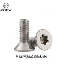 Countersunk Screw Flat-Head-Machine Stainless-Steel Torx M1.6 M2 M2.5 50pcs M3 M4 A2