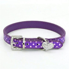 Fashion Lovely Dog Collar Spot Hanging Heart Supplies for Puppy and Cat PU Leather Pet Roducts Accessorie 5 Color