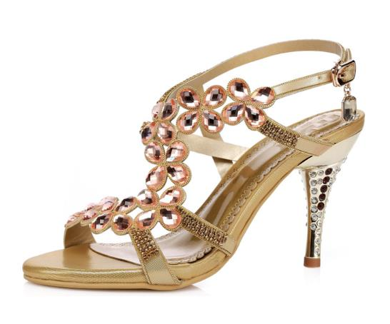 ФОТО Rhinestone Sandals Sexy High Heel Shoes Summer Roman Shoes Leather Sandals Princess Crystal Wedding Shoes Buckle T -strap