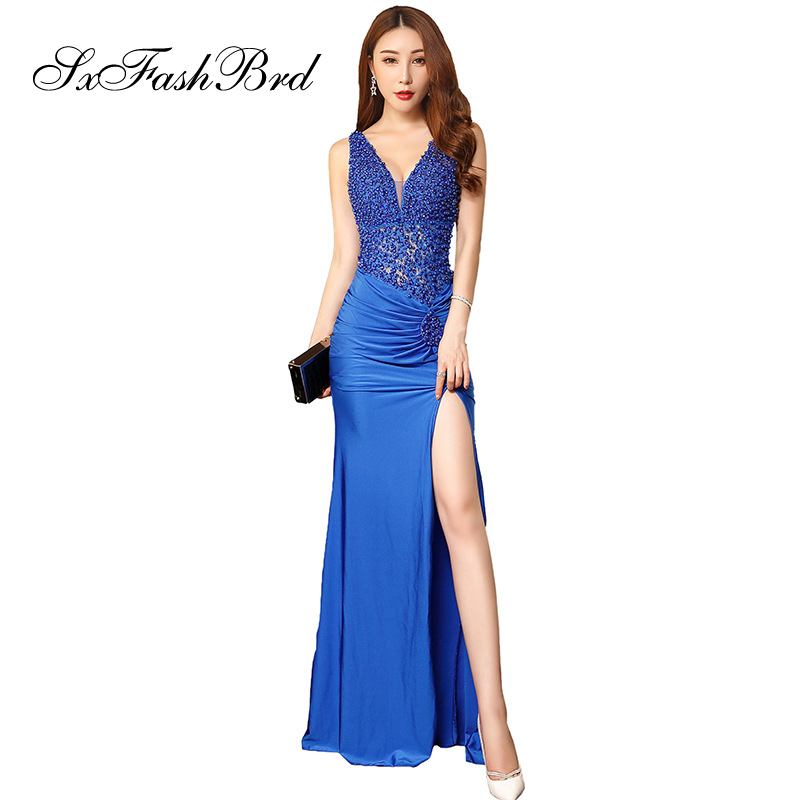 Robe De Soiree Long Evening Dress Pearls V Neck Mermaid Split Formal Elegant Long Women Party Evening Dresses Prom Dress Gown