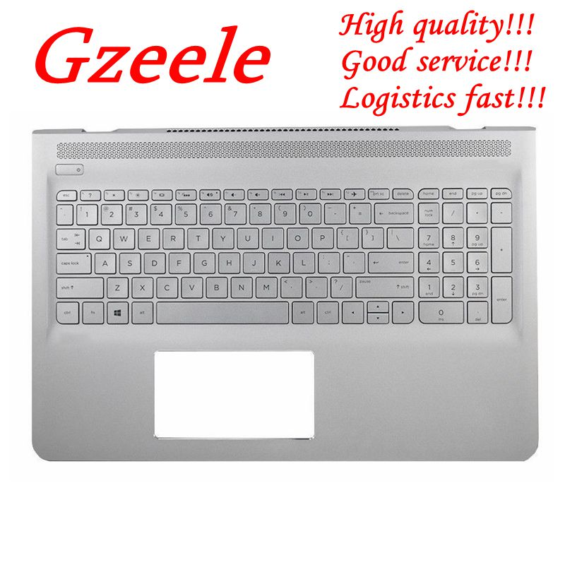 GZEELE New for HP Pavilion 15-AS 15-as000 15t-as000 Silver Palmrest Backlit English Keyboard 857799-001 6070B1018801 UPPER case