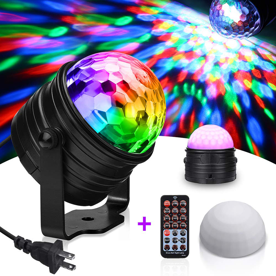 6W RGB Sound Activated Rotating Disco Ball Party Night Lights Star Shower LED Stage Strobe Lights For Christmas Home KTV Decor