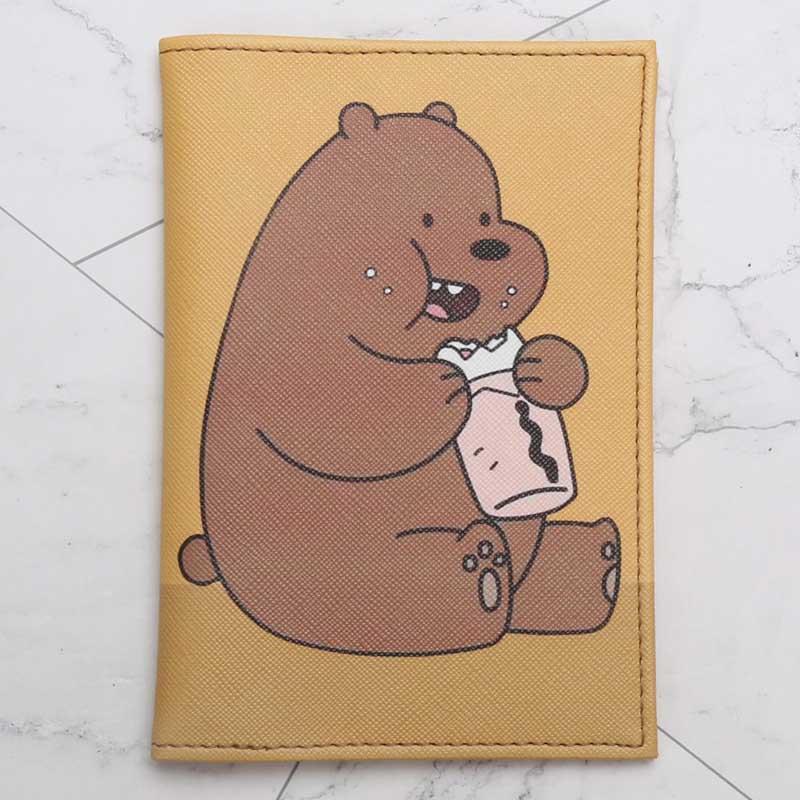 Fashion Cute Naughty Bears Cartoon Passport Cover Men Women PU Leather Travel Passport Holder Case Card ID Holders 14.5cm*10cm