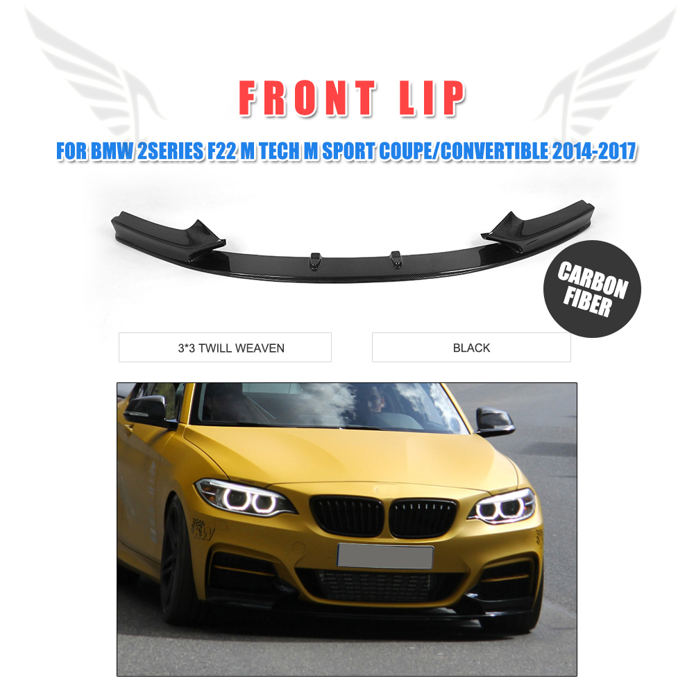P style auto carbon fiber front bumper lip chin spoiler for bmw 2series f22 m tech