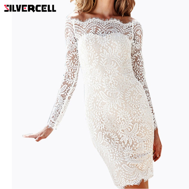 8a0dd7d205b51 SILVERCELL Off Shoulder White Lace Pencil Dress for Women Sexy Evening  Party Long Sleeves Slim Party Bodycon Dress Mini Dresses