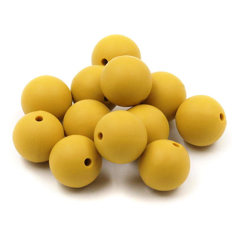 JOJOCHEW 100pcs 9mm-19mm Mustard Yellow Silicone Baby Teething Beads BPA Free Silicone Beads Teethers Cuentas De Silicona