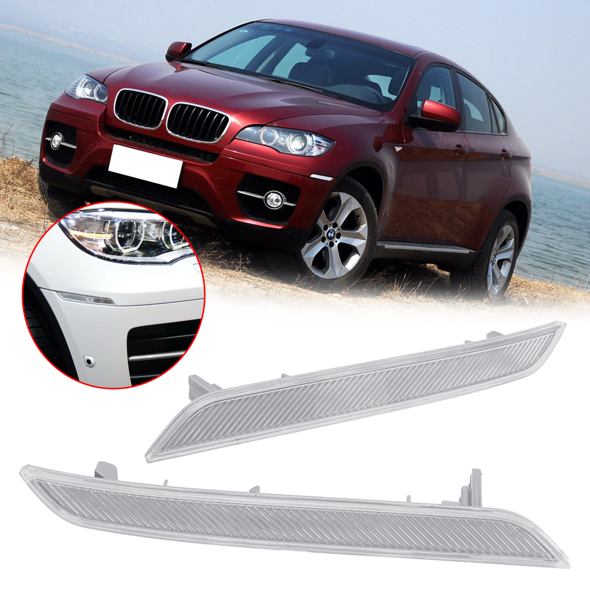 New Right/Left Car Reflective Strips Front Bumper Side Marker Reflector Warning Light Cover Plastic for BMW E71 E72 X6 2007-2014New Right/Left Car Reflective Strips Front Bumper Side Marker Reflector Warning Light Cover Plastic for BMW E71 E72 X6 2007-2014