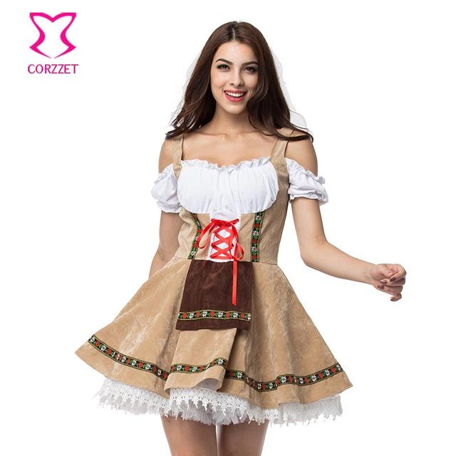 23b7fdfac4 3XL Plus Size Beige White Oktoberfest Costume Cosplay Beer Girl Fancy Dress  Deguisement Adult Sexy Halloween Costumes For Women-in Sexy Costumes from  ...
