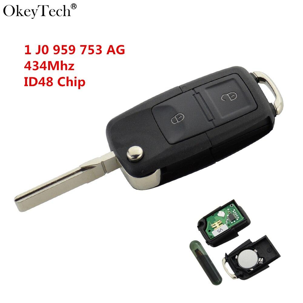 Okeytech 2 Botão Aleta Dobrar Chave Remota 434 Mhz ID48 Transponder Chip Para VW Golf 4 5 polo Passat b5 b6 Touran 1 JO 959 753 AG