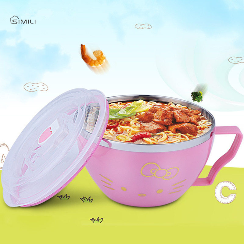 15*8.5cm Noodles Bowl With Handle Lid Enclosed Stainless Steel Cutlery Rice Soup bowl Childrens bowls