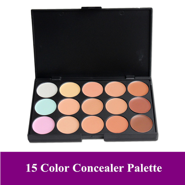 Free Shipping! New Pro 15 Color Makeup face Camouflage Concealer cream Palette with brush 15FG, dropshipping!