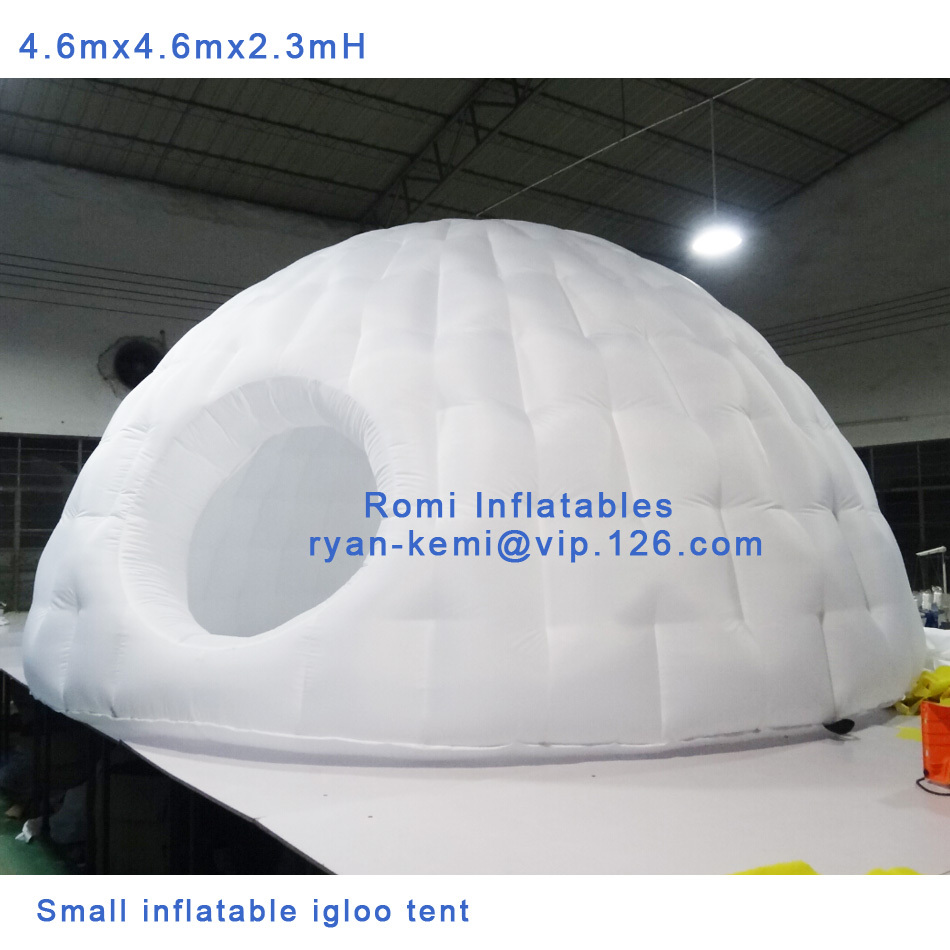 Free shipping 4.6m dia 2.3mH small inflatable igloo tent inflatable party tent inflatable room small inflatable dome tent white blow up igloo dome inflatable tent product for promotion