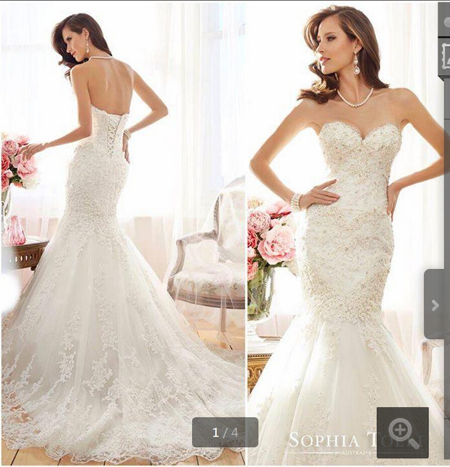 2015 Hot Sale Mermaid Trumpet Ivory Lace Strapless
