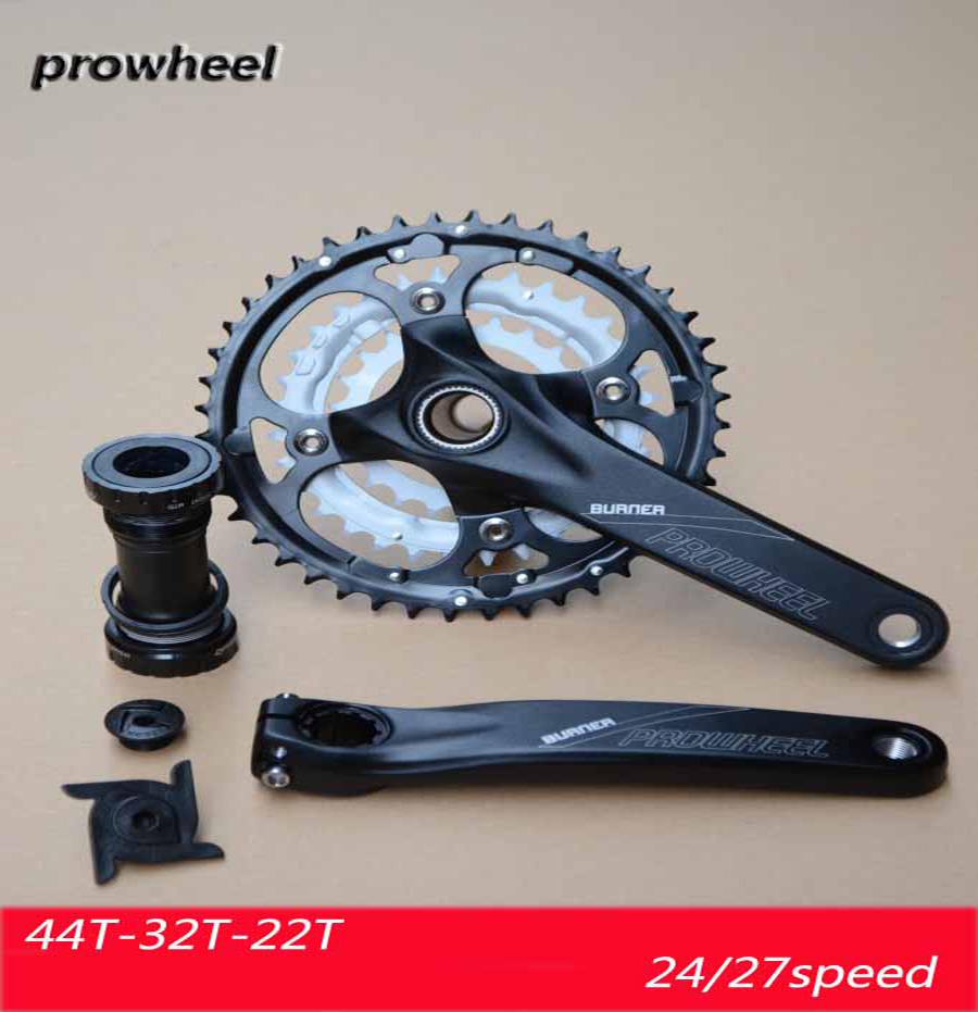 PROWHEEL 401 Mountain Bike MTB Bicycle Crankset Aluminum Alloy 44T 9/27 speed Teeth Chainwheel Crankset Bicycle Crank Sprocket aluminum alloy bicycle crank chain wheel mountain bike inner bearing crank fluted disc mtb 104bcd bike part