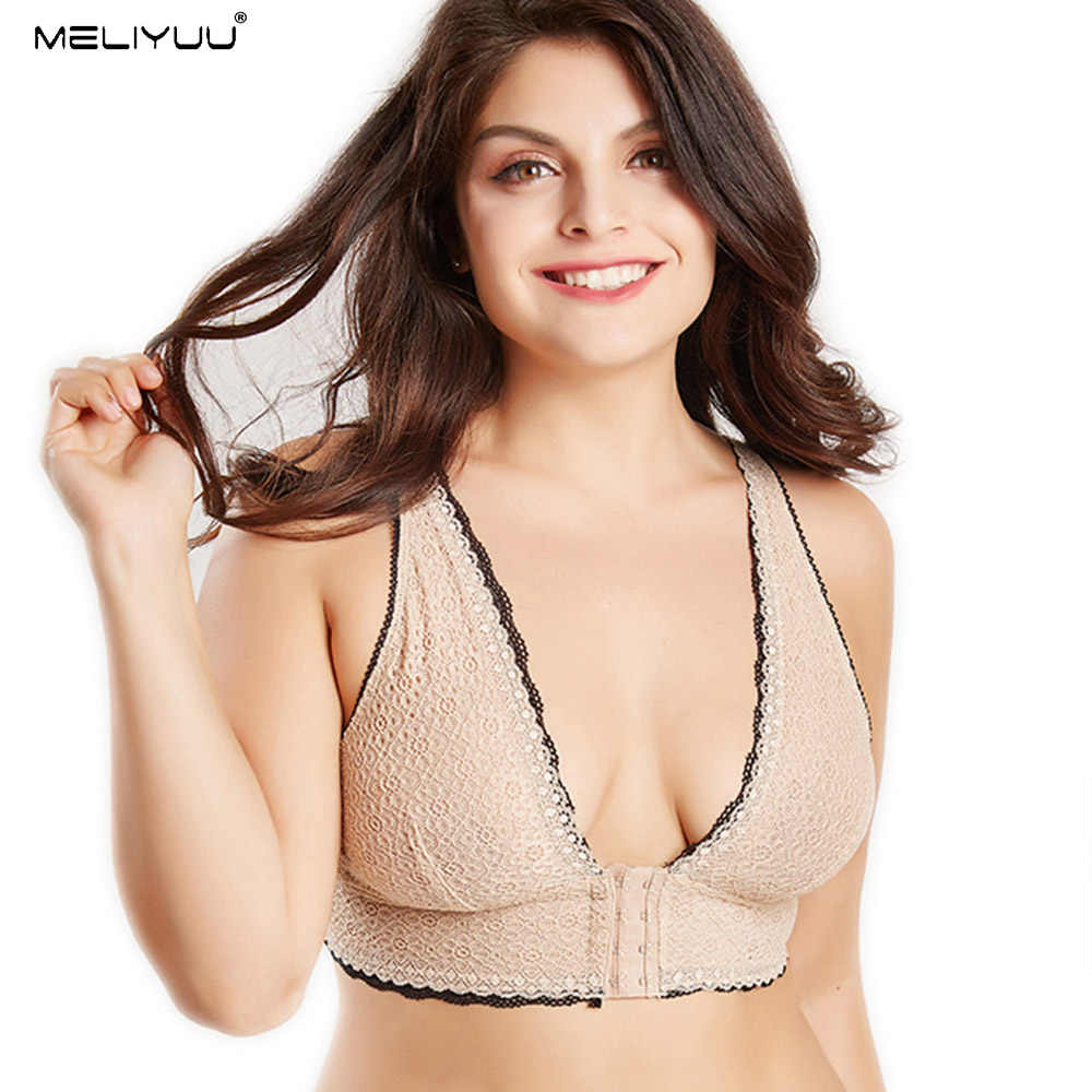 Women Larger Bosom Bras Lace Unlined bralette Plus Size Lingerie Sexy Plunge Bra Wireless Front Close Brassiere Female Underwear