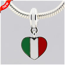 Fits for Pandora Bacelets Italy Heart Flag Charms 100% 925 Sterling Silver Beads Fine Jewelry Free Shipping(China)