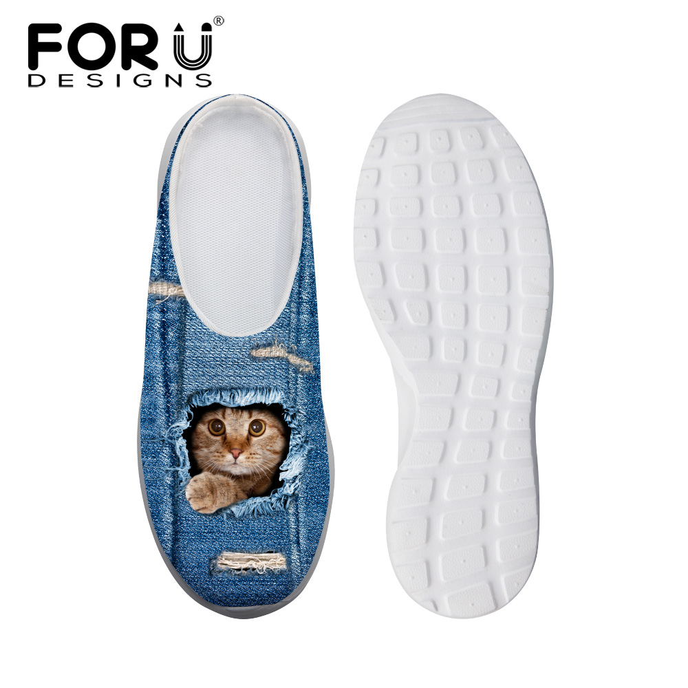 FORUDESIGNS Women House Sandals Cute Denim Cat Print Woman Summer Indoor Slippers Breathable Ladies Clogs Casual