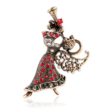 CINDY XIANG Vintage Rhinestone Angel Girl Brooches For Women Elegant Pins Best Christmas Gift Jewelry Coat Dress Accessories