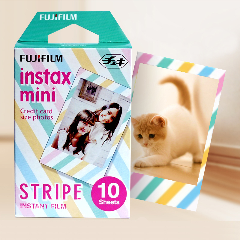 10 Original Fujifilm Instax Mini Instant Color Film Stripe for polaroid Mini camera 7s 8 9 25 50s 90 SP-1