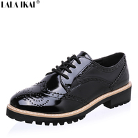 2017 Patent Leather Shoes Woman Brogues Lace Up Round Toe Oxford Shoes For Women Flat Shoes