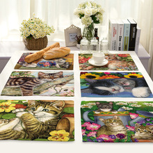 Lovely Cat Pattern Table Mats for Dining Linen Rectangle Placemats Kitchen Nordic Decoration Accessories