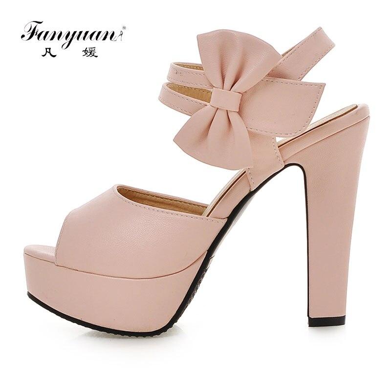 Detail Feedback Questions about Fanyuan Summer Shoes Women Platform Sandals  Sweet Bow knot Pink Ladies Summer Sandals Sexy Peep Toe High Heels Sandals  Women ... eff23047d95c