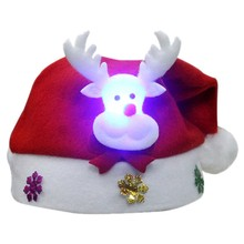 56acf2c046d89 1Pc Adult Children Kids LED Light Christmas Hat Santa Claus Reindeer  Snowman Party Cap Headwear Gift
