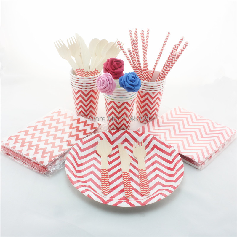 ipalmay 780pcs Red Chevron Party Tableware, Wedding Baby
