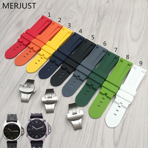MERJUST 24mm Yellow White Black Orange green Waterproof Silicone soft Rubber Replacement Watch Band Strap For PAM Luminor