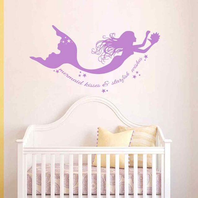 BATTOO Mermaid Wall Decals Quote Mermaid Kisses U0026 Starfish Wishes Vinyl  Decal Sticker Baby Girl Nursery