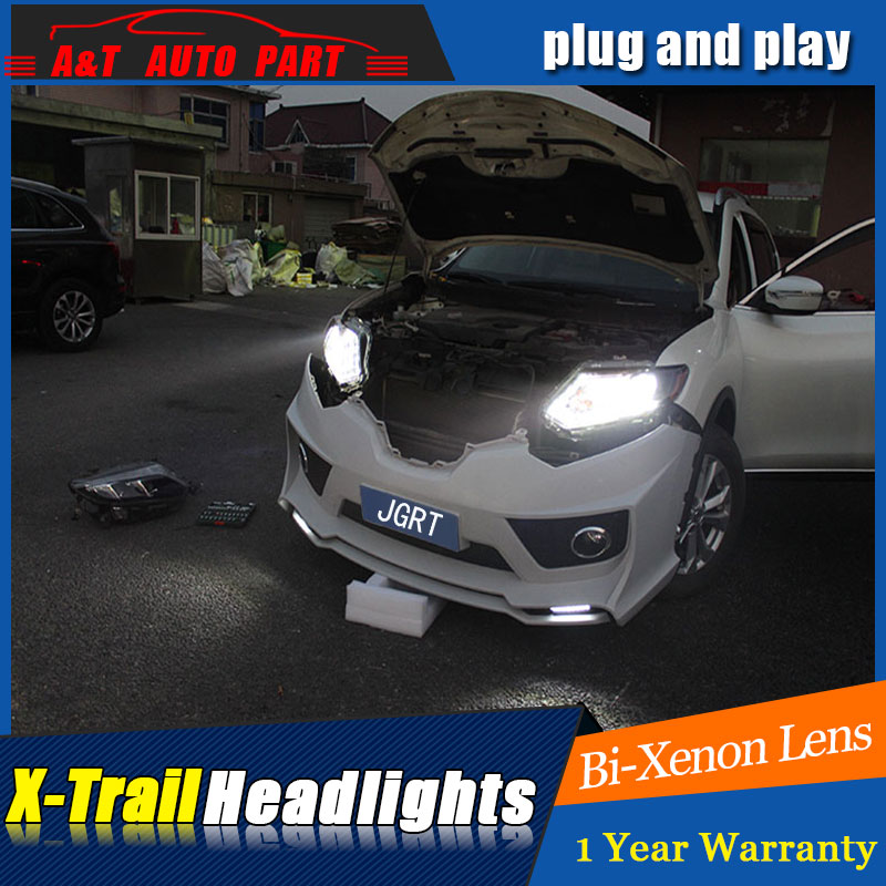 Auto part Style LED Head Lamp for Nissan X-Trail led 14-15 headlights for X-Trail drl H7 hid Bi-Xenon Lens angel eye low beam auto part style led head lamp for lexus is250 led headlights 2006 2009 for is250 drl h7 hid bi xenon lens angel eye low beam