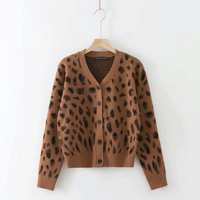 crop sweater 2018 fall fashion women V Neck Computer Knitted Single Breasted Leopard sweater Casual jumper