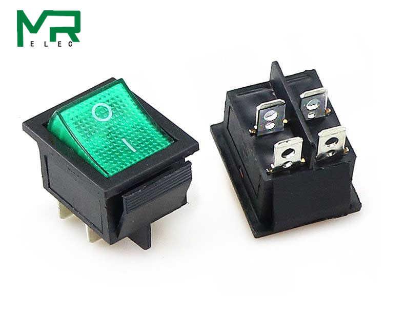 KCD4 Đính Đá Công Tắc On-Off 2 Vị Trí 4 Chân/6 Pin Thiết Bị Điện Có Đèn Công Tắc Nguồn 16A 250VAC/ 20A 125VAC