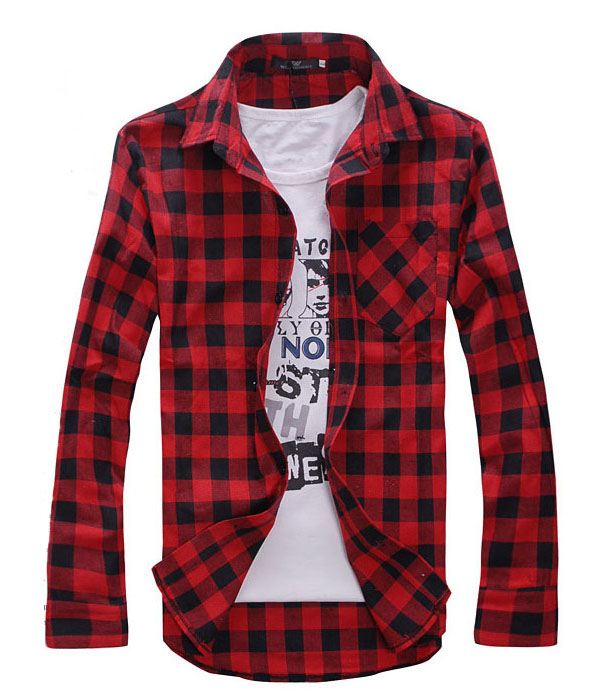 Cotton Tshirt Men's Plaid Shirts Men's Casual Long Sleeve Shirt Male Slim Fit Camisa