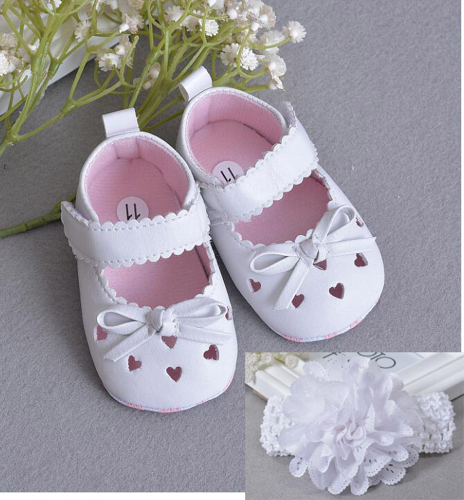 With Lace Headband Newborn Baby Girl Christening Shoes Baptism Princess Leather Pu Cute First Walkers Summer Hollowed Shoes