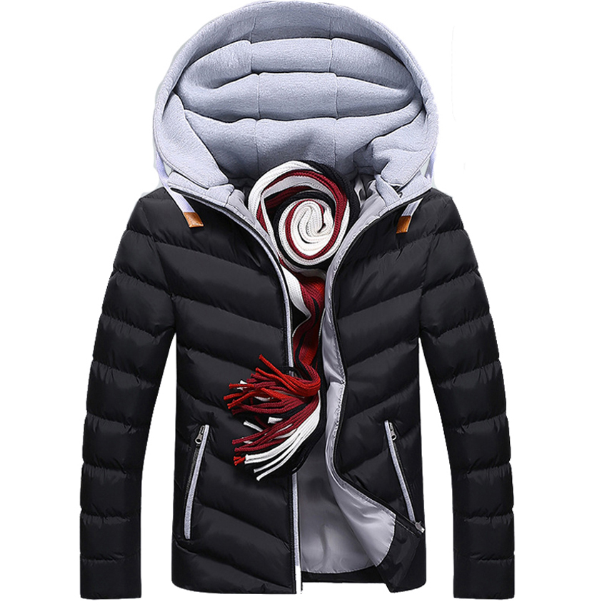 Mens Hooded Jackets Hat Detachable Men's   Parka   Casual Thick Coats Cotton-Padded   Parkas   Winter Padded Overcoat Outerwear 2033