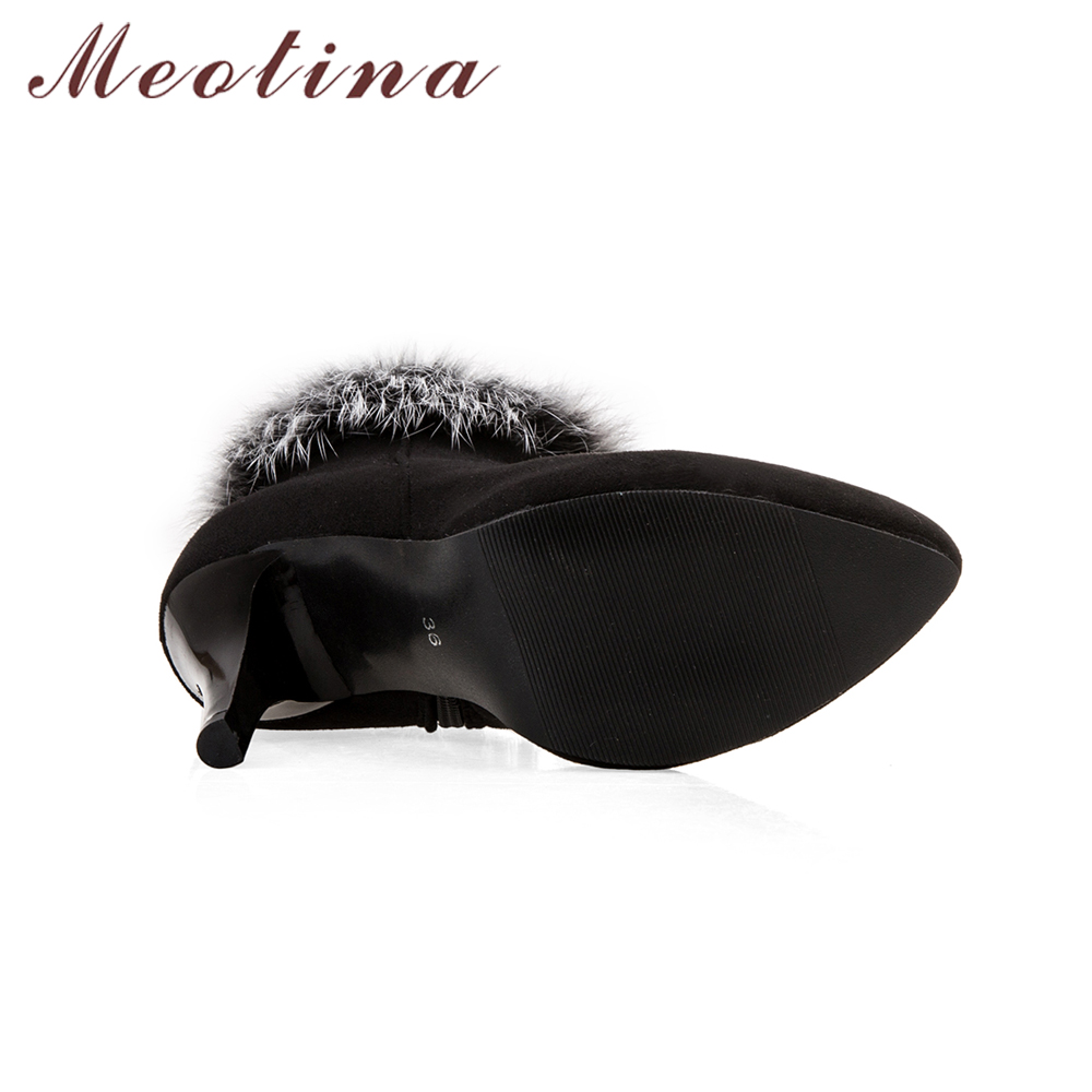 Femmes Fourrure Cheville Automne Rouge Neige Courtes rouge 45 Taille Bottes 11 Chaussures Zip Grande Dames Talons Sexy lavande Hiver De Meotina Blanc À Noir O8Yw5pxa