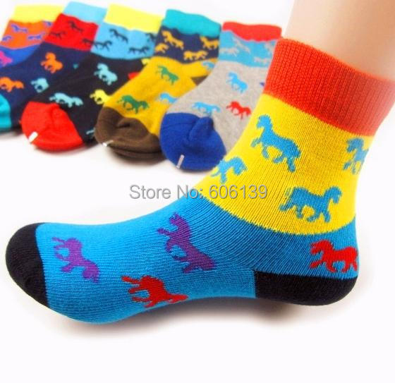 High qulity cute little horse baby boys socks children cartoon colorful combed cotton kids socks 12pair/lot free shipping