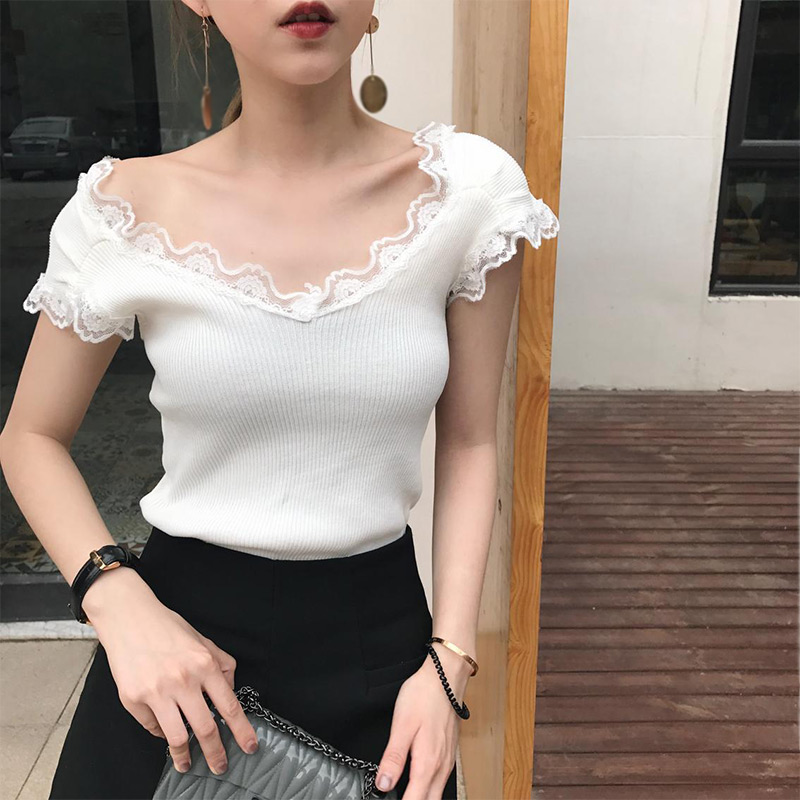 Deep V Neck Knitted Solid Lace Women Short Shirts 2019 Summer Elegant Female Blouses Casual Elastic Korean Styles Slim Lady Top in Blouses amp Shirts from Women 39 s Clothing