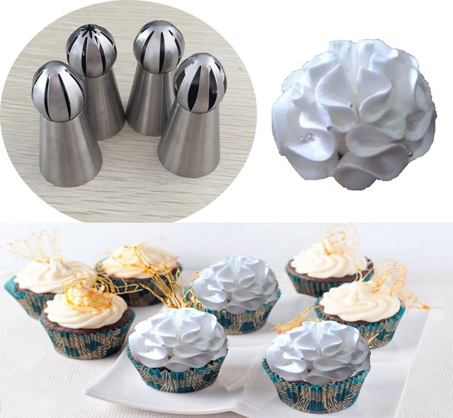 4pcs Lot Stainless Steel Russian Ball Nozzles Flower Fondant Icing Piping Tips Cream Torch Pastry