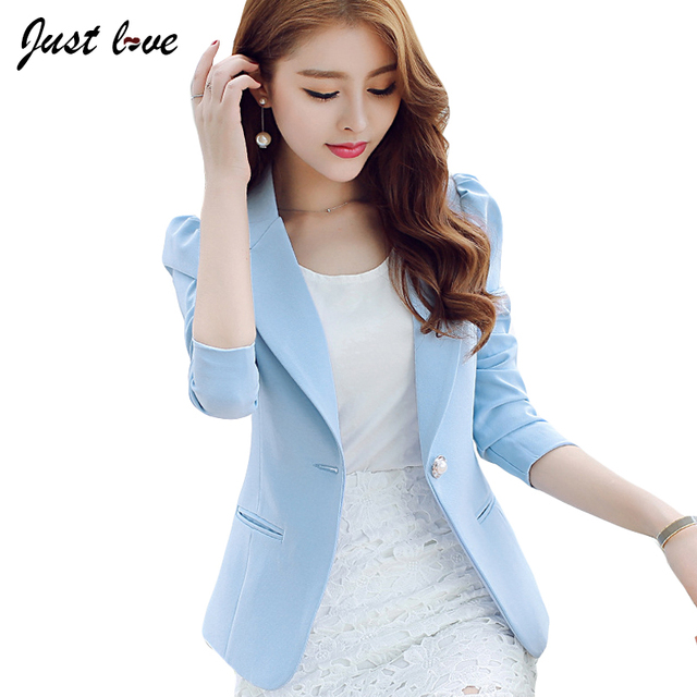 2017 New Fashion Casual Women One Button Suit Blazers Slim Full Sleeve Solid Color Blazers Coat for Work Women Plus Size